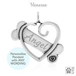 Personalized Bone and Heart Pendant, Sterling Silver Dog Gifts