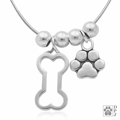 Dog bone and paw print necklace