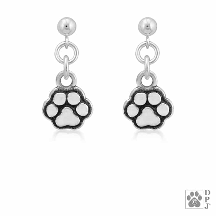 b7d799598 sterling silver dog earrings, dog themed jewelry, paw print jewelry, silver  small dog paw earrings, pet jewelry, small paw prints, rescue dog, ...