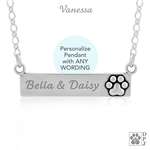 Engraved Sterling Silver Luxury Paw Nameplate Necklace