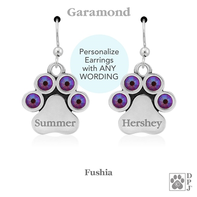 Personalized Birthstone Paw Print Earrings, Designer dog jewelry