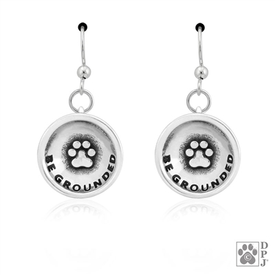 Sterling Silver Be Grounded Earrings, Inspirational Paw Print Earring