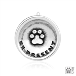 Sterling Silver Be Present Pendant, Inspirational Paw Print Charm