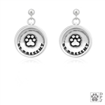 Sterling Silver Be Present Earrings, Inspirational Paw Print Earring