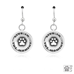 Sterling Silver Live In The Moment Earrings, Inspirational Paw Print Earring