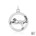 warrior III pose pendant, dog yoga charm, pet charm
