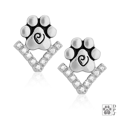 Sophisticated Paw Print Earrings, Paw Print  Fine Jewelry