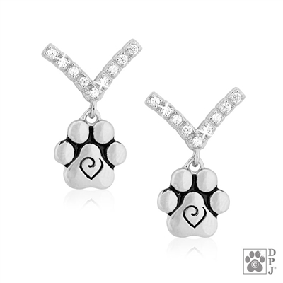 Elegant Paw Print Earrings,  Fine jewelry for dog owners