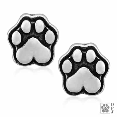 Sterling Silver Heart Paws Post Earrings