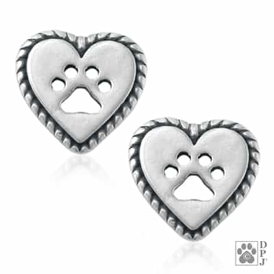 Sterling Silver Roped Into Your Love heart post earrings