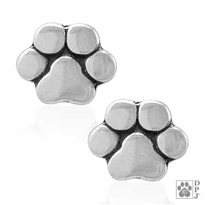 Sterling Silver Basic Paw Print Post Earrings