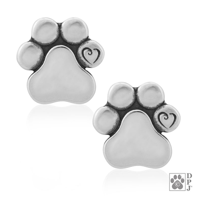 Dog earrings, dog paw earrings, dog stud earrings, sterling silver dog earrings, dog lover earrings,