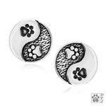 Sterling Silver Yin and Yang Paw Print Post Earring, Designer Pet Rescue Jewelry