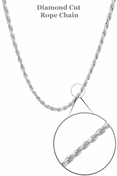 """24/"""" Sterling Silver Diamond Cut French Rope Chain Necklace"""