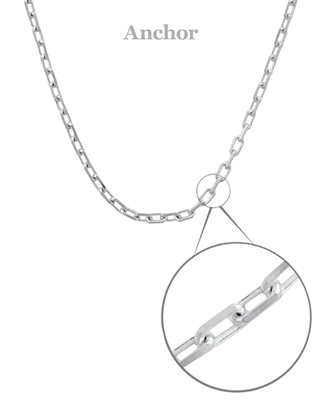 Sterling Silver Anchor Chain 16""