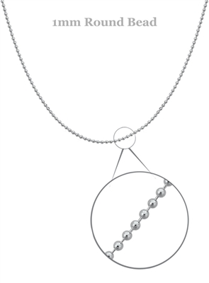 Sterling Silver Round Ball Chain, 1mm 18""