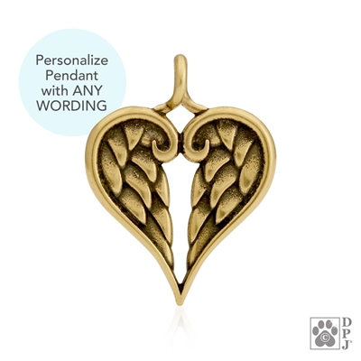 Engraved Bronze Healing Angels Pendant -- new