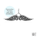 Personalized dog angel necklace, Personalized angle wing pendant