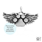 Engraved Sterling Silver Heavens Paws Pendant