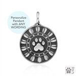 Engraved Sterling Silver Reflection Paws Pendant