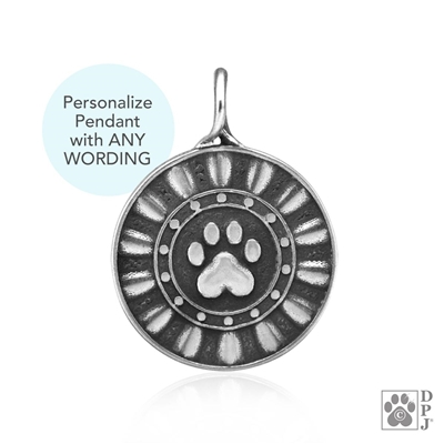 Personalized Sterling Silver Reflection Paws Pendant