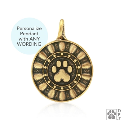 Personalized Bronze, Reflection Paws pendant, key chain