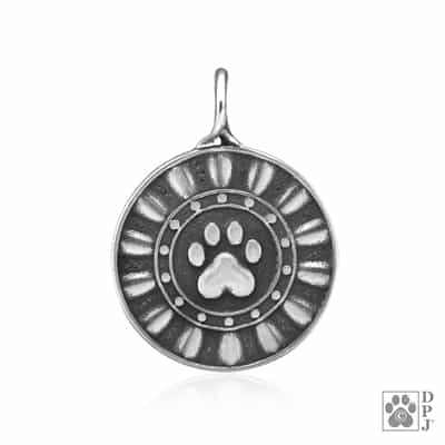 Sterling Silver Reflection Paws Memorial Pendant
