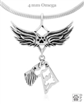 Airedale Terrier Angel Wing Necklace, Sterling Silver Airedale Terrier Angel Pendant, Airedale Terrier Pet Loss Charm