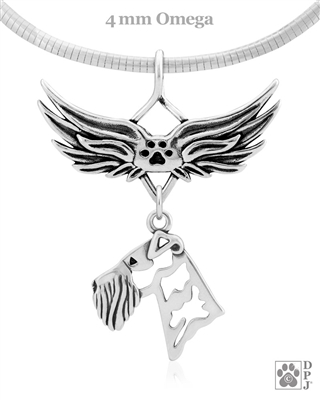 Airedale Terrier Angel Wing Necklace, Sterling Silver Airedale Terrier Memorial Angel Pendant, Airedale Terrier Pet Loss Charm