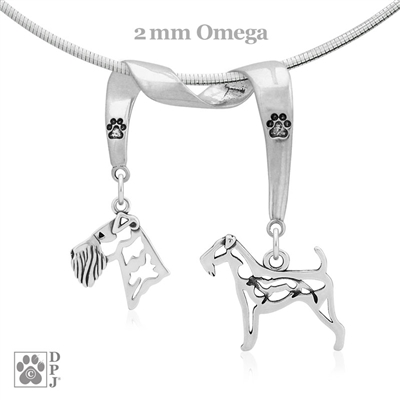 Sterling Silver Airedale Terrier Necklace, Airedale Terrier Fine Jewelry, High Quality Silver Airedale Terrier Double Charm Holder
