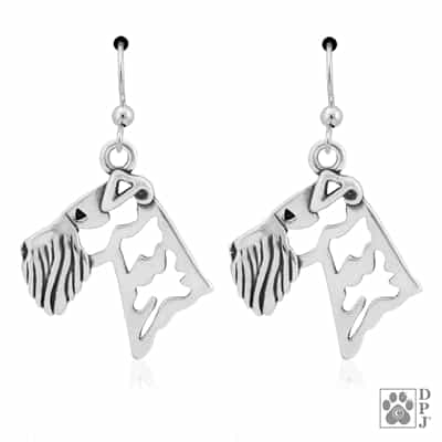 Sterling Silver Airedale Terrier Earrings, Handcrafted King of Terrier Earrings, Silver Airedale Terrier Gift