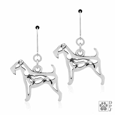 Airedale Terrier Earrings, Sterling Silver Airedale Terrier Gift, High Quality Airedale Earrings