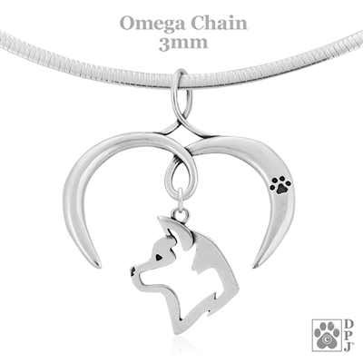 I Love My Akita Necklace, Sterling Silver Akita Necklace