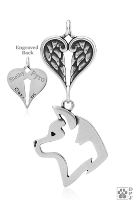 Akita Angel Memorial Gift, Sterling Silver Akita Memorial Necklace,  Dog Owner Sympathy Gift