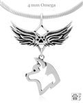 Sterling Silver Akita Angel Wing Necklace, Akita Pet Memorial Gift Idea,  Akita Angel Memorial