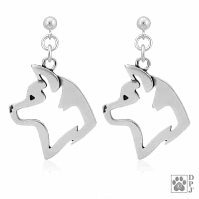 Sterling Silver Akita Earrings, Akita Dangle Earring