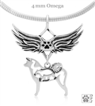 Sterling Silver Akita Angel Wing Necklace, Pet Loss Sympathy Gifts