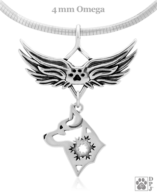 Sterling Silver Alaskan Klee Kai Angel Wing Necklace, Rainbow Bridge Gift