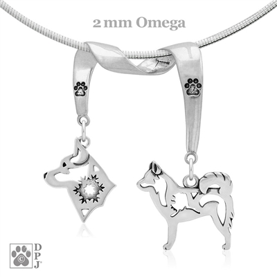 Designer Alaskan Klee Kai Necklace featuring two Alaskan Klee Kai Dog Charms, Alaskan Klee Kai  Fine Jewelry