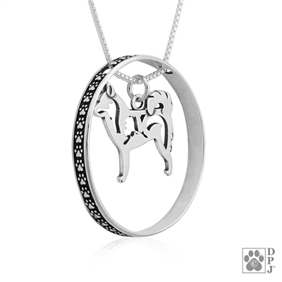 Sterling Silver Alaskan Klee Kai Necklace with Paw Print Enhancer, Top Rated Alaskan Klee Kai Gift