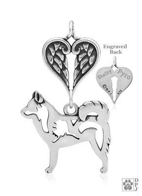 Sterling Silver Alaskan Klee Kai Angel Memorial Gifts, Alaskan Klee Kai guardian angel pendant