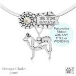 Sterling Silver Best In Show Alaskan Klee Kai Jewelry, Personalized Dog Show Ribbon Necklace