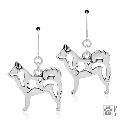Sterling Silver Alaskan Klee Kai Earrings, Alaskan Klee Kai Dangle Earring