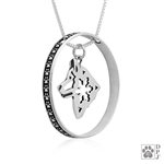 Sterling Silver Alaskan Malamute Necklace, Alaskan Malamute Charm with Paw Print Enhancer