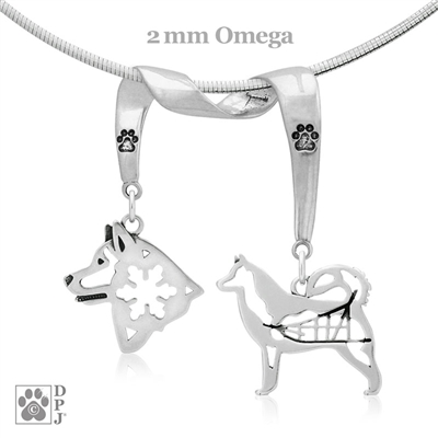 Designer Alaskan Malamute Necklace with two Sterling Silver sled dog charms