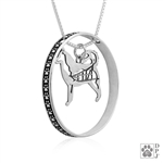Sterling Silver Alaskan Malamute Pendant, w/Sled in Body, w/Colossal Blinger -- new