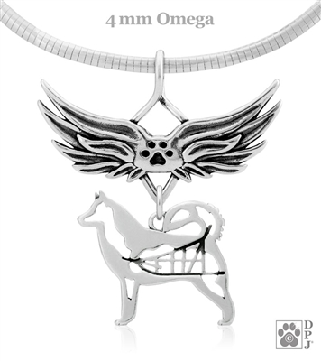 Sterling Silver Alaskan Malamute Angel Wing Necklace, Dog Sympathy Gifts,