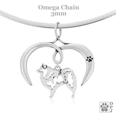 I Love My American Eskimo Necklace, Sterling Silver American Eskimo Necklace
