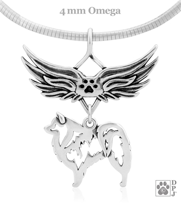 Sterling Silver American Eskimo Angel Wing Memorial Necklace, American Eskimo Sympathy Gifts
