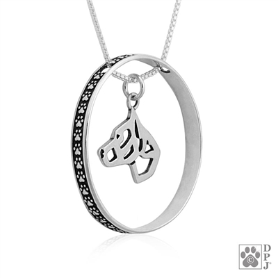 Sterling Silver Am Staff pendant with paw print enhancer